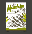 mountains calling hiking advertising poster vector image vector image