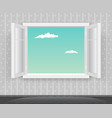 open glass window frame cartoon home interior vector image vector image