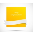 orange card with white ribbon vector image vector image