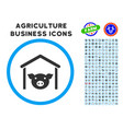 pig farm rounded icon with set vector image