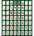 Poker set with isolated cards on green background vector image vector image