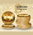 realistic bitcoin cryptocurrency coins vector image vector image