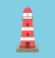 red lighthouse ocean landscape searchlight tower vector image