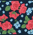 red roses and myosotis flowers on dark blue vector image