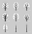 schematic set typical european trees vector image