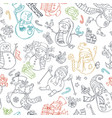 seamless pattern of cute doodles snowmen vector image vector image