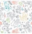 seamless pattern of cute doodles snowmen vector image