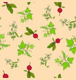 seamless pattern of hand drawn fresh vegetables vector image vector image