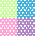 Seamless white polka dots pattern over colorful vector image vector image