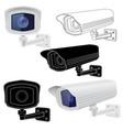 security camera set cctv surveillance system vector image vector image