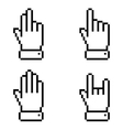 Set of black pixel hand icons vector image