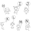 Set of Happy alphabet hand-drawn cartoon vector image vector image