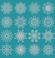 set sixteen different snowflake silhouettes on vector image