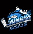 Sharks hockey club professional logo vector image vector image