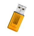 silhouette yellow usb memory drive vector image