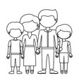 sketch silhouette faceless family group in formal vector image vector image