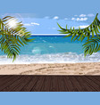 summer sea and palm leaves background vector image vector image