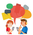 teen girl and boy messaging communicate on vector image