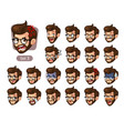 the third set of bearded hipster facial emotions vector image