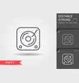 vinyl player line icon with editable stroke with vector image