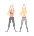 woman doing yoga fitness exercises training vector image