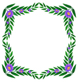 A border made of leaves and violet flowers vector image vector image