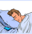 a white man sleeps in bed on pillow night vector image