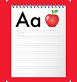 alphabet tracing worksheet with letter a and a vector image vector image