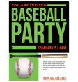 baseball party flyer invitation vector image vector image
