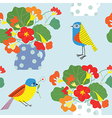 Bird and flowers pot seamless pattern cute retro vector image vector image