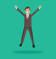 business man jumps celebrates the victory vector image vector image