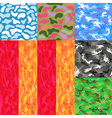 Camouflage seamless spots pattern background set vector image
