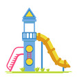 children rocket with slide on playground isolated vector image