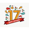colorful happy birthday number 17 flat line design vector image vector image