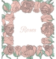 decorative floral frame with pink roses vector image
