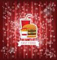 fast food poster with red abstract background vector image