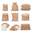 flat set of burlap sacks with rice or flour vector image