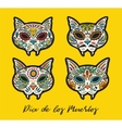 greeting card with sugar skull cats traditional vector image vector image