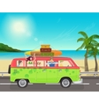 Group of young people traveling in vintage bus vector image vector image