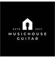 guitar and house for music and house logo design vector image vector image