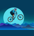 image of a cyclist on a background of mountains vector image