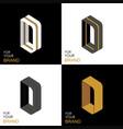 isometric set letter d black white gold palette vector image vector image