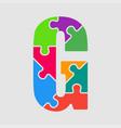 jigsaw color shape puzzle piece letter - g vector image vector image