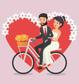 just married couple in bicycle avatars characters vector image vector image