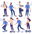 men and women with hoverboards and skates vector image vector image