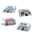 newspaper icon folded printed paper news vector image