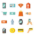 nfc technology icons concept payment mobile online vector image vector image