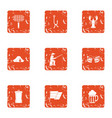 out forest icons set grunge style vector image