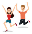 people celebrating with a leap vector image vector image