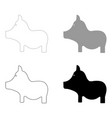 pig the black and grey color set icon vector image vector image